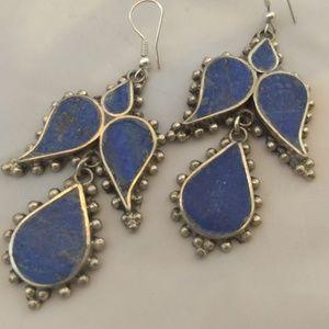 Beautiful exotic lapis inlay earrings